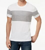 INC International Concepts Men's Short Sleeve Striped Crew-Neck T-Shirt, White