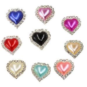 10 Pieces Peach Heart Flatback Crystal Pearl Button Rhinestone Embellishment DIY