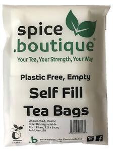 spice.boutique UNBLEACHED Corn Fibre Self Fill Teabags, PLASTIC FREE, Foldover