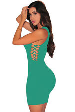 Abito aperto Nudo aderente Lacci Stringhe Mini Lace up Bodycon Dress clubwear S.