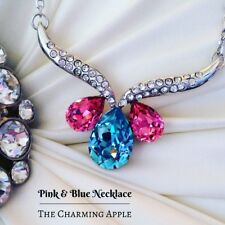 Pink and Blue Crystal Necklace_Silver_Jewellery_Jewelry_Gift_Accessory_Princess