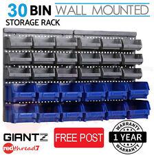 Storage 30 Bin Wall Mounted Tool Rack Set Parts Garage Unit Work Bench Organiser