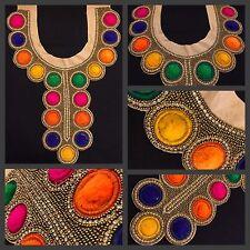 Multicolor Pom Pom indio Parche bordado apliques coser cuentas escote en ajuste