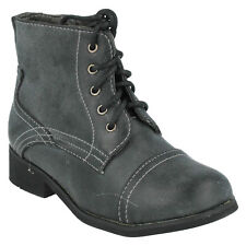 GIRLS H4R063 SPOT ON LACE ZIP UP ROUND TOE MILITARY STYLE  CASUAL ANKLE BOOTS