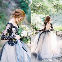 Long Sleeve Tulle Black and White Gothic Wedding Dress V Neck Bridal Gown Custom