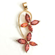Red Ruby Flower Gold Dangle Pendant Charm Enhancer Long Gold Plated Jewelry YR43