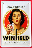 Blechschild 20x30 WINFIELD Zigaretten USA Tabak Werbung Pin up Girl Bar Kiosk