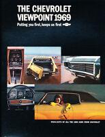 1969 Chevrolet 16-page Car Sales Brochure  Impala Camaro Caprice SS 396 Chevelle