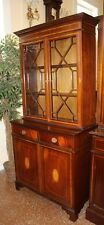 Beautiful French Polished English Georgian Inlaid Chippendale Bookcase China