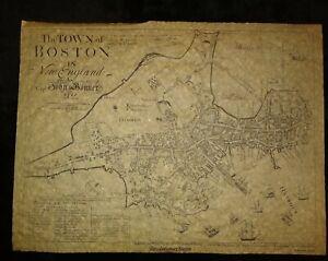 THE TOWN OF BOSTON VINTAGE MAP George Girdler Smith's RARE 1835 reissue