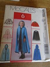 """PATRON  """"McCalls """" CAPE COURTE LONGUE AVEC OU SANS CAPUCHE T 2 A 5 ANS  N° 4703"""