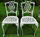 Pair 2 Antique/Vtg White Aluminum Dining Patio Outdoor Side Chairs SOUTH AFRICA