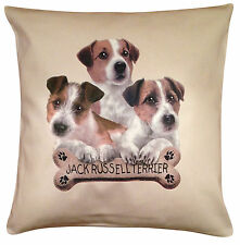 Jack Russell Terrier Puppy Cotton Cushion Cover - Cream or White - Gift Item