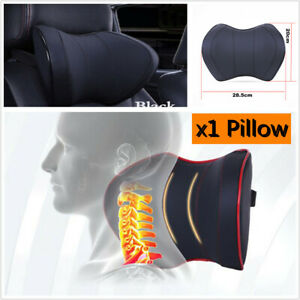 1Pcs Blk Car Front Rear Nect Rest Memory Foam Headrest Pillow Travel Pad Mat