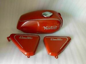NORTON COMMANDO ROADSTER 750 RED PAINTED PETROL TANK WITH SIDE PANEL
