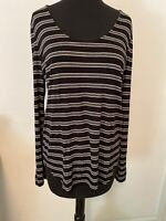 Ann Taylor LOFT Womens Black White Stripe Scoop Neck Long Sleeve Shirt Med