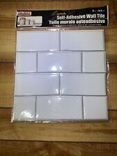 "Tool Bench Hardware Self Adhesive White Wall brick Tile 12x12"" Subway 7 Ct. New"