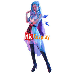 KDA ALL OUT Seraphine Leather Cosplay Costume FullSet+Hair Clip+Arm Accessory