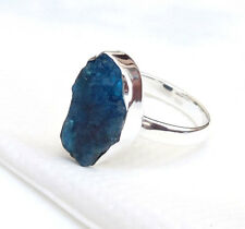 925 Sterling silver Contemporary Ring, Rough Stone Apatite Ring Size 10-EB2697