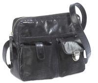 Bodenschatz Modena Umhängetasche schwarz Handtasche Reißverschlusstasche