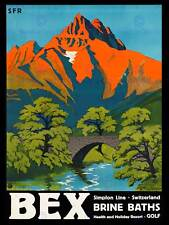TRAVEL Bex SWISS SPA ratio salamoia PONTE Mountain River art print poster bb7450b