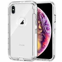 For IPhone XS Max Heavy Duty Tough Military Grade Clear Case fit Otterbox Clip