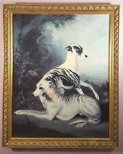 BERNARD DE CLAVIERE WHIPPETS 1981 DOG PORTRAIT HUGE PRINT ON CANVAS ORNATE FRAME