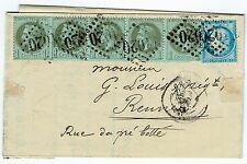 N°25 bande 5 + N° 37 Affrt à 25 ctmes-RENNES-NOUVEAU TARIF-SEPT 1871