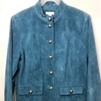 Charter Club Blue Suede Leather Jacket Size Large