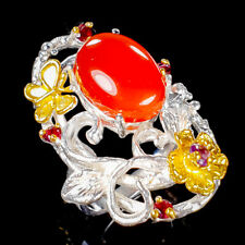 Handmade SET Natural Carnelian 925 Sterling Silver Ring Size 7.5/R122535