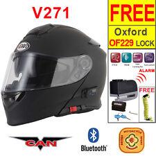 Vcan V271 Bluetooth 5 Flip Up ACU Gold Motorbike Helmet Motorcycle Matt Black