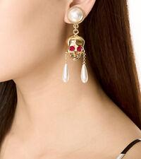 Women Fashion vintage Earrings Ear Stud Long Gold Big Skulls Drop Pearl Jewelry