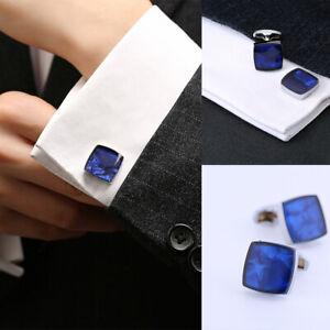 1 Pair Mens Cufflinks on Shirt Blue Vintage Wedding Jewelry Prom Accessories