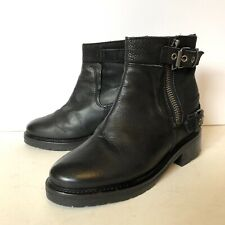 All Saints Rama Leather Ankle Boot Black Hidden Wedge Zippers Buckles Sz 38 $380