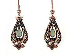 E096 Genuine 9K Solid Rose Gold Natural Opal Drop Dangle Earrings Antique style