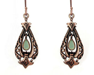E096 Genuine 9ct Solid Rose Gold Natural Opal Drop Dangle Earrings Antique style