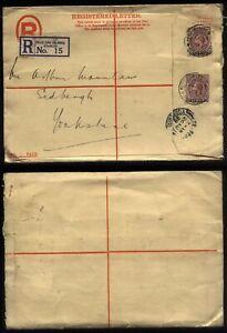1929 FALKLAND ISLANDS Registered Stationery 2 x 2d GV, to Sedbergh, Yorkshire