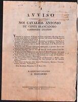 Bando-Antonio Brancadoro Creazione Guardia Urbana da 18 a 60 anni 28 marzo 1831