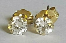 Cute Childs Classic 14k Yellow Gold 4.2mm Round Cubic Zirconia CZ Stud Earrings