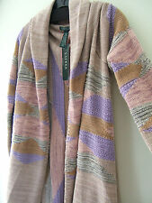 NWT LAUREN Ralph Lauren Open Wrap Shawl Cotton Wool TaupeMulti Sweater 1X $308