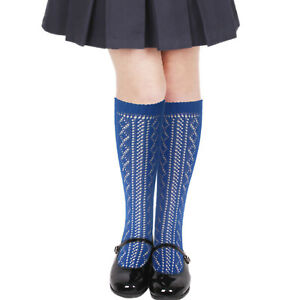 2-16 years school girls cotton knee length socks navy blue white grey black