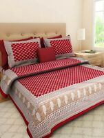 Red Color Floral Print Cotton Double Bed Sheet & Duvet Cover 4 Pillow Cover rw