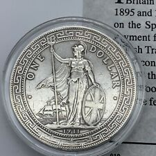 More details for 1911 genuine britain hong kong silver trade dollar mint mark b encapsulated &coa