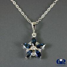 """Natural 1.89 Ct Diamond & Sapphire Pendant Necklace In 14K Gold With 16"""" Chain"""