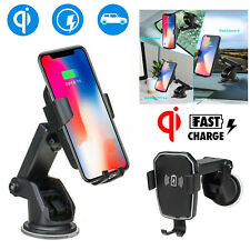 Qi Wireless Fast Charger Car Charging Phone Mount Holder For iPhone X XS Samsung