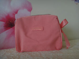 Lancome CORAL Cosmetics Bag W/ Matching Bow -COTTON material Approx: 7x6x2.5