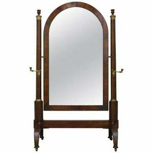 FRENCH EMPIRE MAHOGANY & GILT METAL WITH CANDLES CHEVAL MIRROR CIRCA 1810