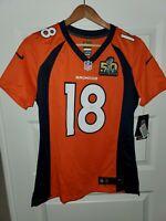 NFL Denver Broncos #18 Manning Superbowl Edition Big kids M On Field Nike Jersey