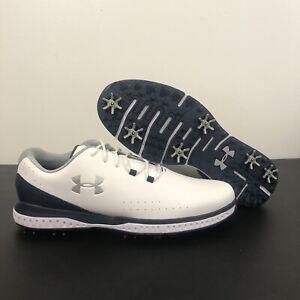 Under Armour UA Medal RST Men's Size 10.5 White Navy Blue Golf Shoes