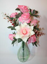 Artificial Silk Flowers Realistic Lily Rose Spray Bunch Arrangement in Vase.